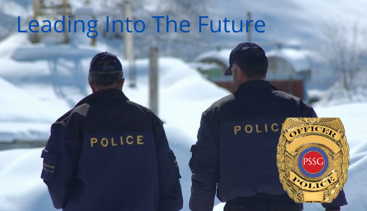 """photo of two police officers with title """"Leading Into the Future"""""""